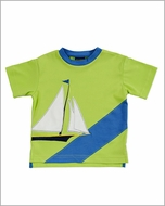 TF Laurence by Florence Eiseman Boys Green / Blue Sailboat Applique Shirt