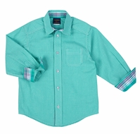TF Laurence by Florence Eiseman Boys Jade Green Mini Check Dress Shirt - Contrasting Plaid Cuffs