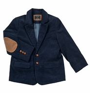 TF Laurence by Florence Eiseman Boys Navy Blue Corduroy Blazer with Elbow Patches