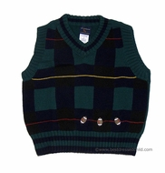 TF Laurence by Florence Eiseman Boys Navy Blue / Green Football Sweater VEST