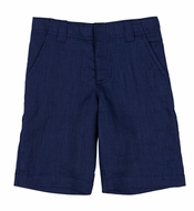 TF Laurence by Florence Eiseman Boys Navy Blue Linen Dress Shorts