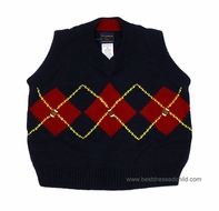 TF Laurence by Florence Eiseman Boys Navy Blue / Red Argyle / Football Sweater Vest