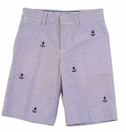 TF Laurence by Florence Eiseman Boys Navy Blue Seersucker / Embroidered Anchors Shorts