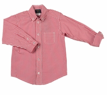TF Laurence by Florence Eiseman Boys Red Gingham Check Dress Shirt
