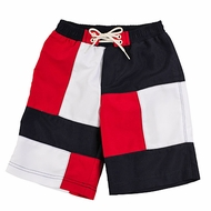 TF Laurence by Florence Eiseman Boys Red / White / Blue Patriotic Swim Trunks