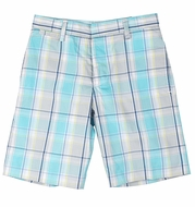 TF Laurence by Florence Eiseman Boys Turquoise Multi Plaid Shorts