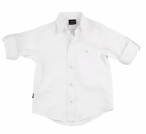 TF Laurence by Florence Eiseman Boys White Linen Blend Shirt