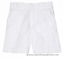 TF Laurence by Florence Eiseman Boys White Linen Lined Dress Shorts