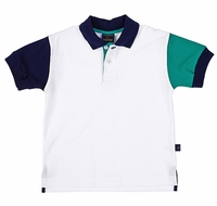 TF Laurence by Florence Eiseman Boys White / Navy Blue / Green Color Block Polo Shirt