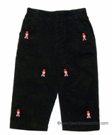 TF Laurence by Florence Eiseman Boys Wide Wale Corduroy Pants with Snowman Embroidery - BLACK