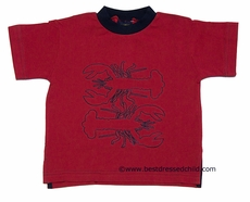 TF Laurence by Florence Eisman Boys Red Pique Shirt with Navy Blue Lobster Embroidery