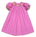 The Best Dressed Child Baby Girls Hot Pink / White Dots Smocked Birthday Turtles Dress