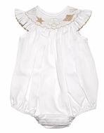 The Best Dressed Child Baby Girls White Smocked Sea Shells Bubble