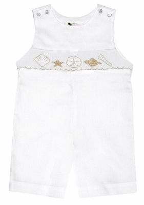 The Best Dressed Child Baby / Toddler Boys White Smocked Sea Shells Shortall