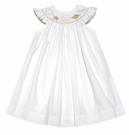 The Best Dressed Child Baby / Toddler Girls White Smocked Seashells Bishop Dress