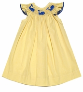 The Best Dressed Child Baby / Toddler Girls Yellow Gingham / Smocked Blue Whales Bishop Dress