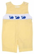 The Best Dressed Child Boys Yellow Gingham Smocked Blue Whales Shortall