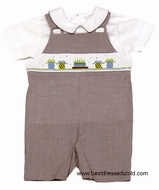 The Best Dressed Child by Vive la Fete Boys Exclusive Brown Gingham Shortall with Shirt - Smocked Chocolate Birthday Cake / Gifts