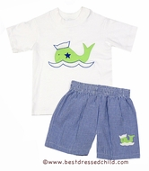 The Best Dressed Child Exclusive by Funtasia - Boys Navy Blue Gingham Swim Trunks with Preppy Green Sailor Whale and Matching Shirt