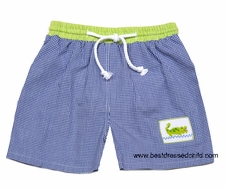 The Best Dressed Child Exclusive by Vive la Fete Boys Blue Gingham Swim Trunks with Smocked Green Alligator Gator