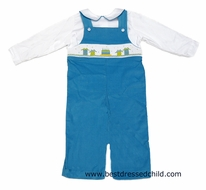 The Best Dressed Child Exclusive by Vive la Fete Boys Turquoise Corduroy Longall with Shirt - Smocked Happy Birthday Cake Party