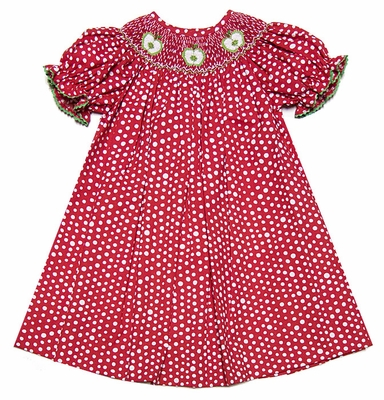Vive la Fete Girls' Red/White Polka Dots Dress Smocked with Green ...