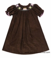 The Best Dressed Child Exclusive Limited Edition by Vive la Fete Birthday Dress - Chocolate Brown Corduroy with Pink / Green Smocked Cakes