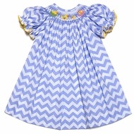 The Best Dressed Child Girls Blue Chevron Smocked Easter Chicks in Eggs Bishop Dress