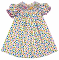 The Best Dressed Child Girls Bright Polka Dots Smocked Elephant Parade Dress