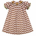 The Best Dressed Child Girls Brown Chevron Smocked Thanksgiving Turkeys Bishop Dress