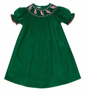 The Best Dressed Child Girls Green Corduroy Smocked Christmas Peppermints Bishop Dress