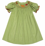The Best Dressed Child Girls Green Corduroy Smocked Fall Leaves Bishop Dress