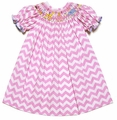 The Best Dressed Child Girls Pink Chevron Smocked Birthday Party Animals Dress
