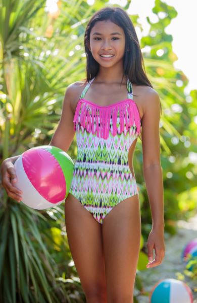 To the 9 s girls fuchsia pink ikat fringed one piece bathing suit