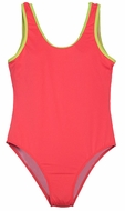 To The 9's Girls Scoop Neck One Piece Bathing Suit - Neon Coral Pink