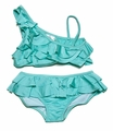 To the 9's Tweens Swimwear - Ruffled Asymmetrical Top Bikini Swimsuit - Mint