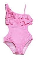 To the 9's Girls Swimwear - Ruffled Asymmetrical Top One Piece Swimsuit - Pink