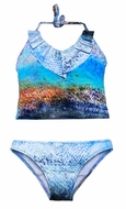 To the 9's Tweens Swimsuit - Blue Ombre V-Neck Ruffled Two Piece Tankini