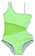 To the 9's Tweens Swimsuit - Lime Green Asymmetrical Mesh with Silver Trim