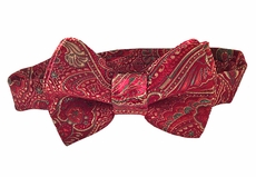 VBee's by Vernell's Boys Dressy Bow Tie - Burgundy Holiday Brocade
