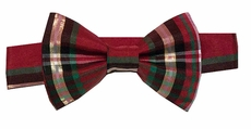 VBee's by Vernell's Boys Dressy Bow Tie - Classic Christmas Holiday Plaid - Gold Accents