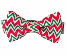 VBee's by Vernell's Boys Dressy Bow Tie - Classic Red / Green Christmas Chevron