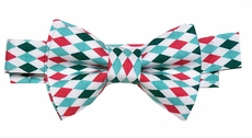 VBee's by Vernell's Boys Dressy Bow Tie - Red / Green Christmas Celebration Argyle