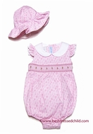 Vive la Fete Baby Girls Sweet Pink Floral Smocked Bubble with Hat