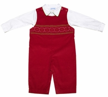 Vive la Fete Baby / Toddler Boys Red Corduroy Smocked Christmas Longall with Shirt