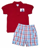 Vive la Fete Boys Blue / Red Plaid Shorts with Smocked Sailboat on Red Polo Shirt