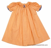Vive la Fete Collegiate NCAA University of Virginia Cavaliers UVA Orange Gingham Smocked Bishop Dress