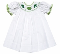Vive la Fete Girls Smocked Green Shamrocks for St. Patrick's Day on White Dress
