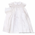Vive la Fete Infant Baby Boys White Silk Smocked Christening Gown with Bib and Slip