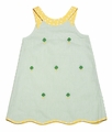 Vive la Fete K&L Girls Green Embroidery Lucky Clover Shamrocks St. Patrick's Day Dress
